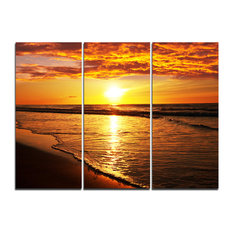"""""""Bright Yellow Sunset over Waves"""" Wall Art, 3 Panels, 36""""x28"""""""