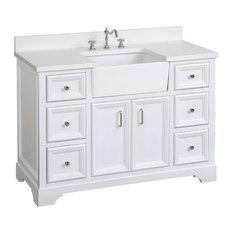 "Zelda Bathroom Vanity, Base: White, 48"", Top: Quartz, Single Sink"