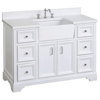 "Zelda Bathroom Vanity, Base: White, 48"", Top: Quartz, Single Sink"