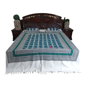 Mogul Initerior - Indian Bedding Calm Blue White Cotton Bedcover Bedroom Decor Coverlet 2 Pillow - Quilts And Quilt Sets
