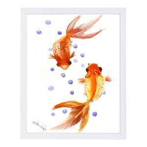 """Feng Shui Goldfish Koi 1,"" Art Print, 9""x11""x1"""