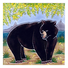 Black Bear With Tree Tile
