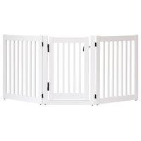 Highlander Series Solid Wood Pet Gate, 3-Panel Walk Through, White