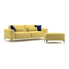 Meta Modern Sofa With 4 Pillow Set And Pouf Ottoman Yellow