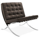 Barcelona Designs - Barcelona Chair, Brown - Barcelona Design is proud to present our best-selling Barcelona chair replica, a true-to-design interpretation of Ludwig Mies van der Rohe's iconic chaise. As per the original designs, it comes with hand-buffed stainless steel rims, providing your chair with stronger support and resistance to chipping, corrosion and rust. The frame is polished to a mirror like sheen, and individually cut premium leather squares add both flexibility and durability to a design that was created with the same loving care and traditional values of craftsmanship and attention to detail found in the original 1929 Barcelona chair. We use heavy grade leather saddle straps that are color-matched to your chosen upholstery. Our manufacturing team, like Mies, believes in constructional clarity, free-flowing space and careful detailing. Available in striking Black, subtle Brown, warm Tan, or piercing White.
