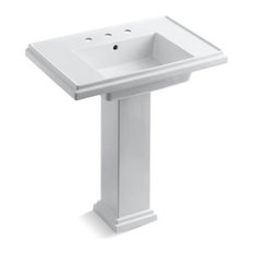 "Kohler Tresham 30"" Pedestal Bathroom Sink with 8"" Widespread Faucet Holes, White"