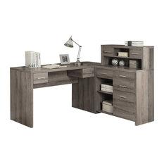 L shaped home office desk Custom Monarch Monarch Hollow Core Shaped Home Office Desk With Hutch Dark Taupe Neginegolestan 50 Most Popular Lshaped Desks For 2019 Houzz