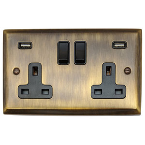 G&H 2-Gang Double 13A Switched Plug Socket 2.1A USB, Antique Bronze, Black