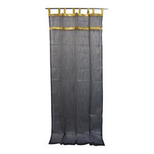 "Mogul Interior - 2 Sheer Organza Curtains Drapes Black Golden Sari Border Window, 48x108"" - Curtains"