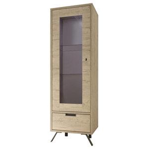 Parma Narrow Display Cabinet, Lights, Light Oak