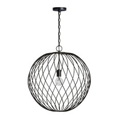 1 Light Large Metal Orb Pendant, Black