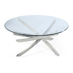 Magnussen Home Furnishings   Zila Round Cocktail Table, Brushed Nickel   Coffee  Tables