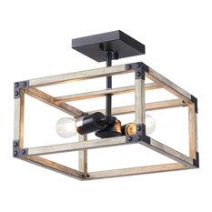 2 Light Rustic Industrial Semi Flush Mount Ceiling Light w Open Cage