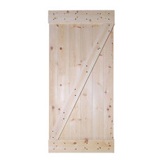 TMS   TMS Solid Core Barn Style Unfinished Knotty Pine Wood Sliding Interior  Door   Interior