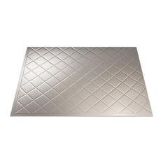 "18""x24"" Fasade Quilted Backsplash Panel, Argent Silver"