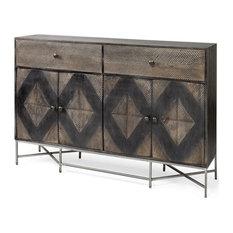 Mercana Hogarth II 62x15 Two-Tone Brown Solid Wood 2 Drawer 4 Cabinet Sideboard