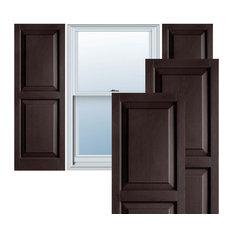 Builders Choice Vinyl Raised Panel Window Shutters, (Pair), Chocolate Brown