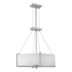 Brushed Nickel 4-Light Oval Chandelier With Gray Fabric Shade