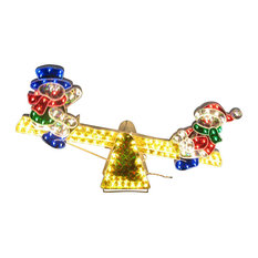 """Pre-Lit Sparkling Holographic Snowmen on See Saw Yard Christmas Decoration, 48"""""""