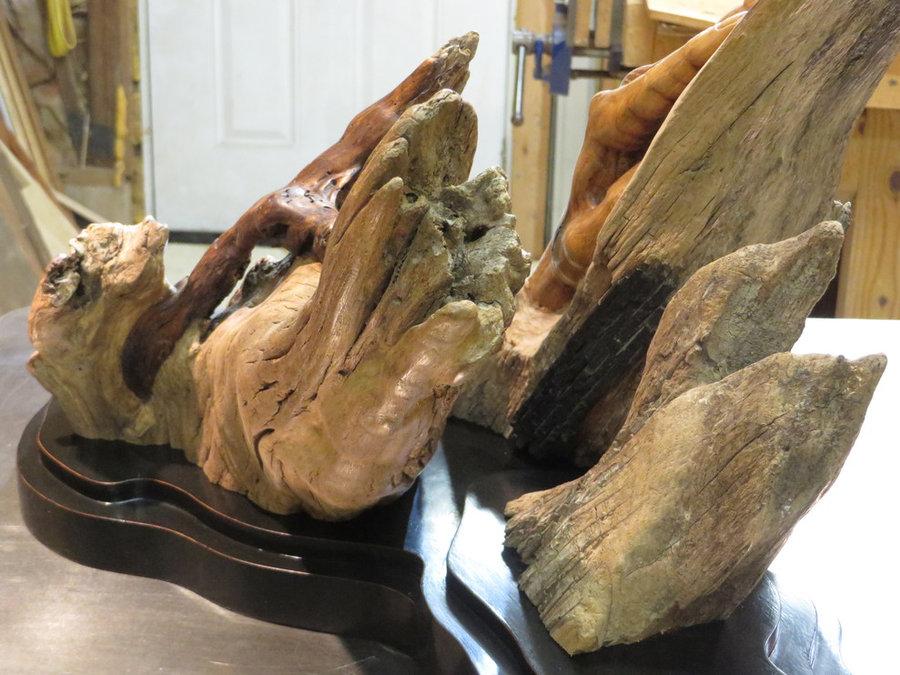 Overcome.  Sculpture, Carved Walnut, Beech & Cherry