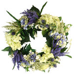 Creative Displays - Thistle, Hydrangea, and White Vine Wreath - A Traditional style wreath, containing green, cream, and purple hydrangeas, accompanied by purple thistle, and white vines.