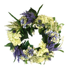 Thistle, Hydrangea, and White Vine Wreath