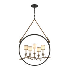 Troy Lighting Drift 5 Light Linear Chandelier with White Pearl Glass Shades