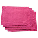 NEEV - Linen Placemats, Set of 4, Raspberry - Brighten the table with these soft table linens in a beautiful Raspberry color. Handwoven on a traditional wooden loom by an artisan in India. 100% eco-friendly linen. Hand dyed with plant based dyes.