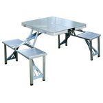 Outsunny - Outsunny Outdoor Aluminum Portable Folding Picnic Table With 4 Seats - Enjoy the outdoors with a place to sit and eat with your friends with this portable folding table.