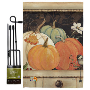 October Pumpkins Fall Seasonal House Flag 28 X40 Farmhouse Flags And Flagpoles By Breeze Decor