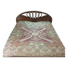Mogul Interior - Pashmina Bedspreads Indian Bedding Blanket Throw Green Red Paisley Reversible - Blankets