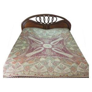 Mogul Interior - Pashmina Bedspreads Indian Bedding Blanket Throw Green Red Paisley Reversible - Throws