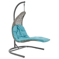 Landscape Hanging Chaise Lounge Outdoor Patio Swing Chair, Turquoise