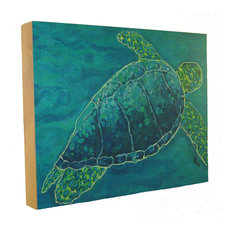 Aqua Sea Turtle Wood Art, 8x10""