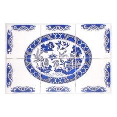 Blue Willow Kiln Fired Ceramic Tile Mural Backsplash, 6-Piece Set