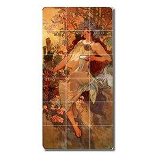"""Alphonse Mucha Poster Art Painting Ceramic Tile Mural #2, 24""""x48"""""""