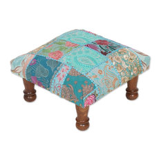 Paisley Patch Embellished Ottoman