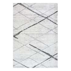 """Contemporary Striped Polypropylene Rug, Gray, 6'7""""x9'"""