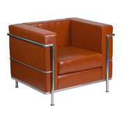 Hercules Regal Series Contemporary Leather Chair With Encasing Frame