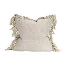 Raine & Humble (Morgan Wright Ltd) - Jute Tassel Cushion, Taupe - Scatter Cushions