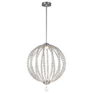 Rondure Beads Orb 2-Light Medium LED Pendant, Satin Nickel
