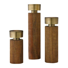 Classic Midcentury Round Pillar Candleholder Set 3 | Tiered Wood Gold Multilevel