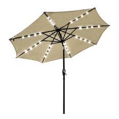 YesHom - Outdoor Patio 32 Led 8 Ribs Solar Powered Aluminium Umbrella Crank Tilt, Beige - Outdoor Umbrellas