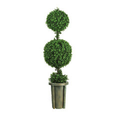 5' Double Ball Leucodendron Topiary With Decorative Vase, Indoor/Outdoor