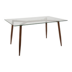 lumisource clara dining table walnut clear dining tables - Mid Century Modern Dining Room Tables