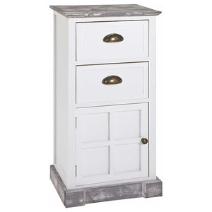 Hallway Cabinet in Solid Wood with 2 Drawer and 1 Door, White Washed Finish