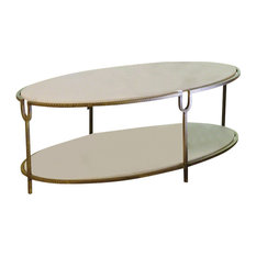 Hammered Gold Iron Marble Classic Oval Coffee Table, Shelves Stone White Luxe