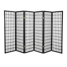 5' Tall Window Pane Shoji Screen, Black, 6 Panels