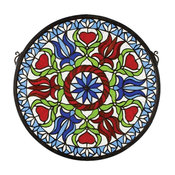 """17""""Wx17""""H Hex Medallion Stained Glass Window"""