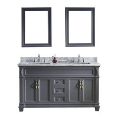 "Virtu USA Victoria 60"" Double Square Sink Top Vanity, Gray With Mirrors"